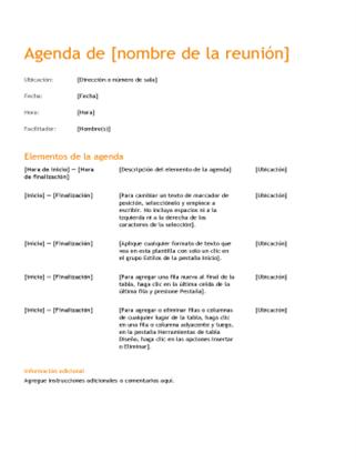 Orden del día de reuniones de negocios (diseño naranja)