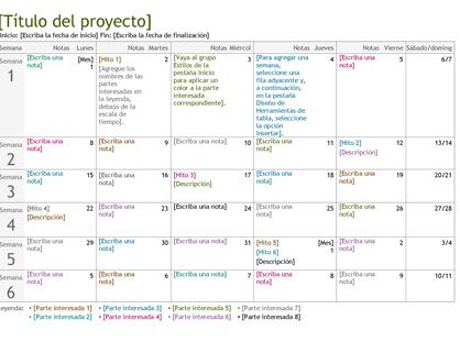 Escala de tiempo de planificación de proyecto