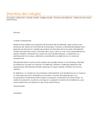 Carta de referencia de estudiante