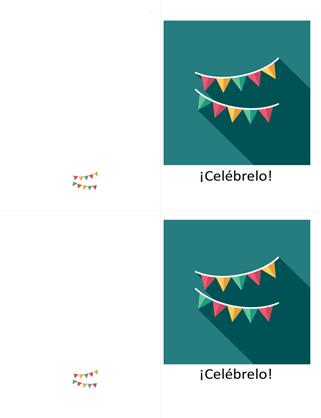 Tarjeta de celebración con banderines