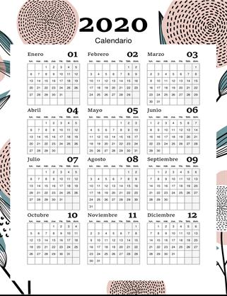 Calendario de año completo, diseño floral moderno
