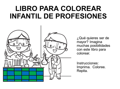 Libro para colorear infantil de profesiones