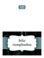 Tarjeta de cumpleaños (diseño con cinta azul, plegada)