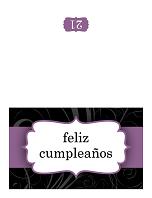 Tarjeta de felicitación (diseño con cinta púrpura, plegada)