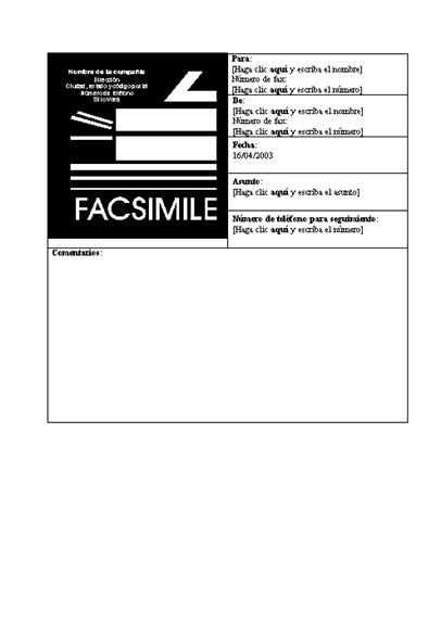 Portada de fax comercial