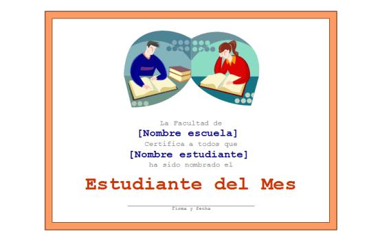 Certificado básico para el estudiante del mes