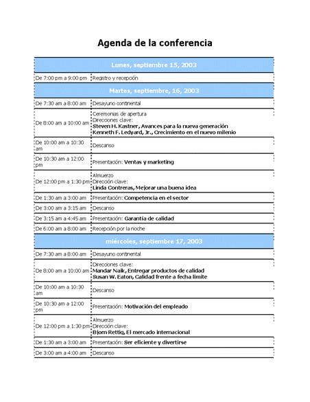 Agenda de la conferencia