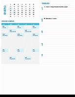 Calendario de planeación semanal para estudiantes (cualquier año, Lun-Dom)