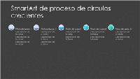 Diapositiva SmartArt de proceso de círculos crecientes (gris y azul sobre negro), panorámica
