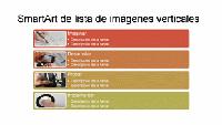 Diapositiva SmartArt de lista vertical de imágenes (multicolor sobre blanco), panorámica