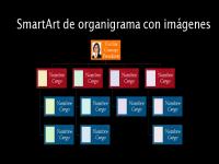 Diapositiva Organigrama con imágenes (varios colores sobre negro), pantalla panorámica
