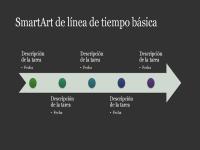 Elemento de SmartArt de escala del tiempo básica (blanco sobre gris oscuro), panorámico