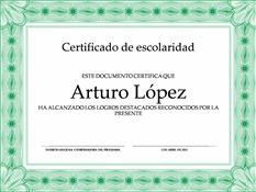 Certificado de Escolaridad (borde formal verde)
