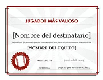 Certificado al jugador más valioso