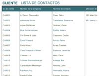 Lista de contacto de clientes
