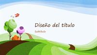 Presentación de naturaleza, diseño ilustrado con un paisaje (pantalla panorámica)