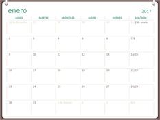 Calendario de 2017 (de lunes a domingo, diseño con dos anillas)