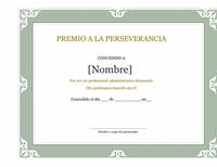 Certificado de reconocimiento del profesional administrativo