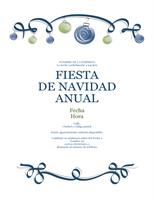 Invitación por festividad con adornos azules y verdes (diseño formal)