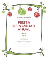 Invitación por festividad con adornos rojos y verdes (diseño informal )