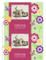 Tarjetas con foto de anuncio de nacimiento (diseño con flores)