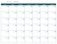 Calendario mensual en blanco