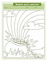 Hoja para colorear del Día de San Patricio (diseño de marmita con monedas de oro)