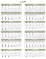 Calendario anual 2016-2025 (de lunes a domingo)