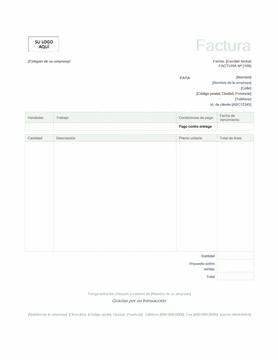 Factura de servicios (diseño verde)