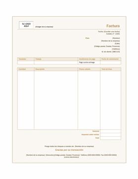 Factura de servicio (diseño Siena)