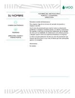 Carta de presentación creativa diseñada por MOO