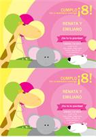 Carta de invitación para cumpleaños (diseño para niños, 2 por página)