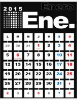 Calendario mensual 2015 con días festivos (Lun - Dom)