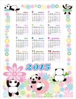 Calendario perpetuo (Lun - Dom): Diseño infantil con pandas