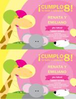 Tarjeta de invitación a cumpleaños (diseño infantil, 2 por página)
