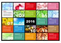 Calendario anual ilustrado del 2016 (lunes a domingo)