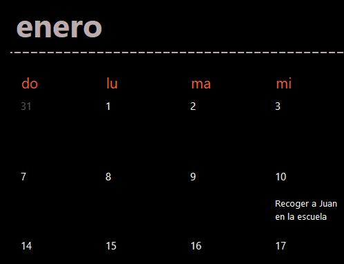 Pestañas de calendario permanente (negro)