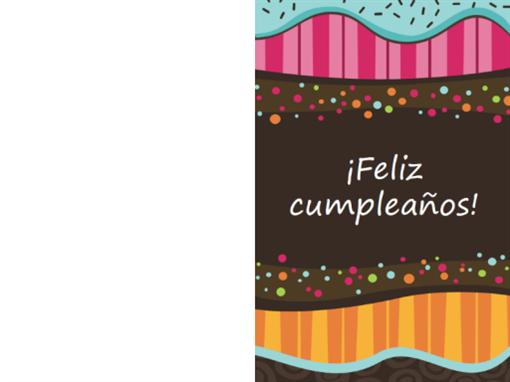 Tarjeta de cumpleaños con puntos y rayas (niños, plegada)
