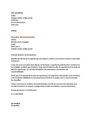 Carta de presentación con currículum funcional (coincide con currículum vítae funcional)