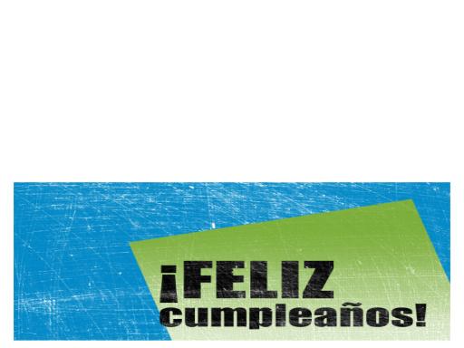 Tarjeta de felicitación de cumpleaños, fondo rayado (azul, verde, plegado por la mitad)