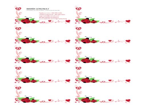 Tarjetas de presentación (mariquitas y corazones, alineadas a la izquierda, 10 por página)