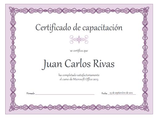 Certificado de capacitación (diseño con cadena púrpura)