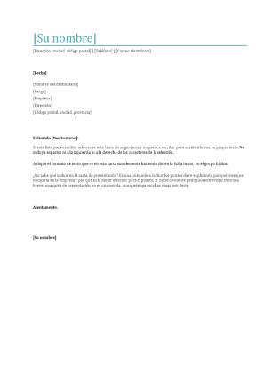 Carta de presentación de CV