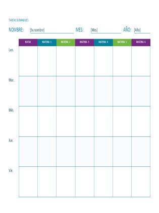 Hoja de tareas semanales