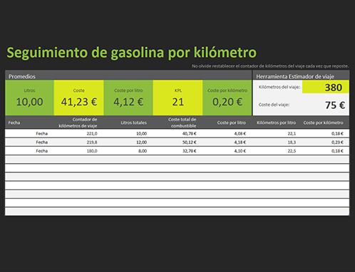 Registro de kilometraje de gasolina