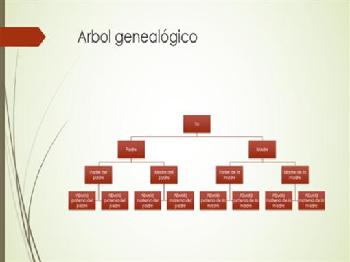 Gráfico de árbol genealógico (vertical, verde, rojo, panorámico)