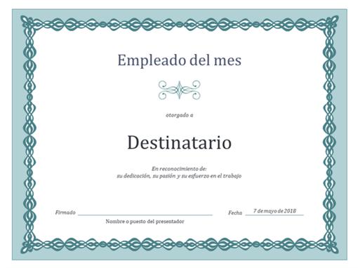 Certificado de empleado del mes (diseño con cadena azul)