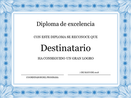 Certificado académico (borde azul formal)