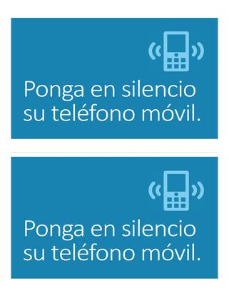 Póster recordatorio de apagar el teléfono móvil (azul)