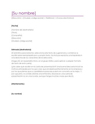 Carta de presentación con currículum vítae (violeta)